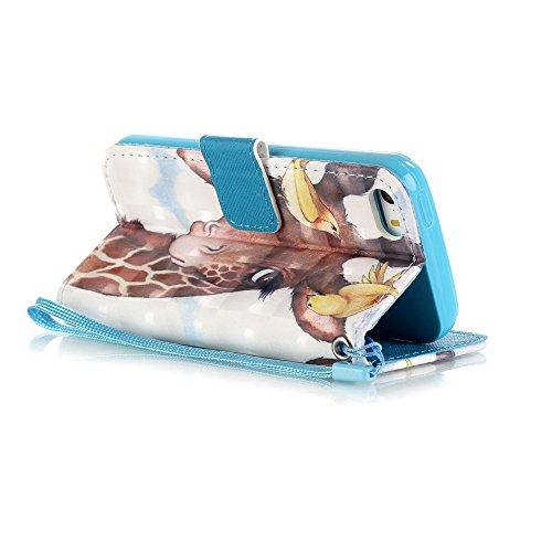 MOONCASE iPhone SE Coque, Creative 3D motif Bling Diamond Case Portefeuille Housse en Cuir Etui à rabat avec Béquille pour iPhone 5 / 5S / iPhone SE -Balloon Bear Bird & Deer