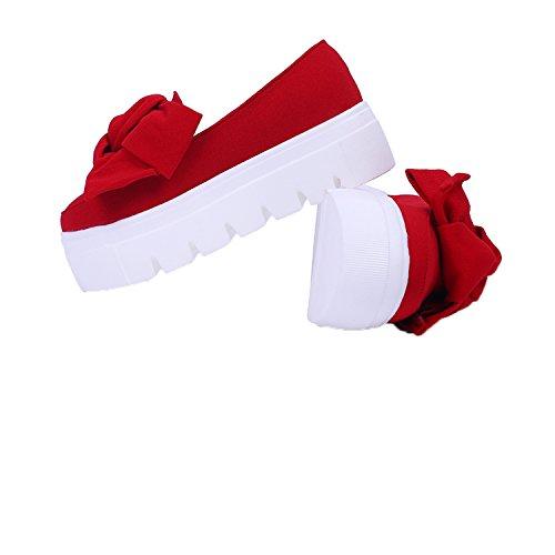 Minetom Donna Ragazza Elegante Rotonda Testa Tacco Alto Scarpe Con Fiocco Decorate Mocassini Focaccina Fondo Crosta Spessa Rosso