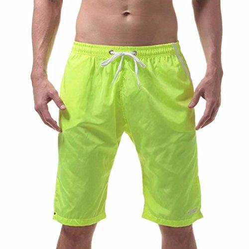OverDose Herren Shorts Badehose Schnelltrocknend Strandshorts Surfing Running Badeshorts Strandhosen(A-Yellow ,L)