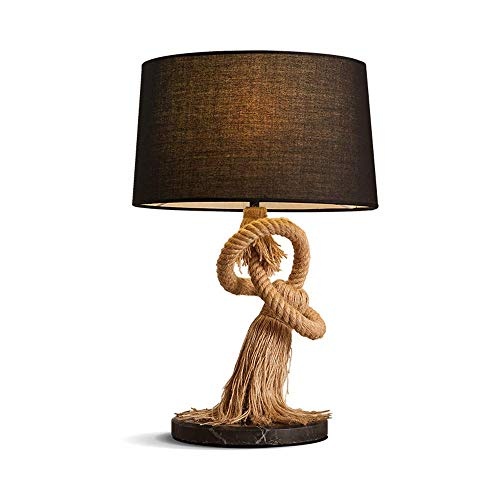 MLSH Klassische Tischlampe Retro Hanf Tischlampe American Creative Tischlampe Marmor Basis Schreibtischlampe LED Leselampe (Color : Black) -