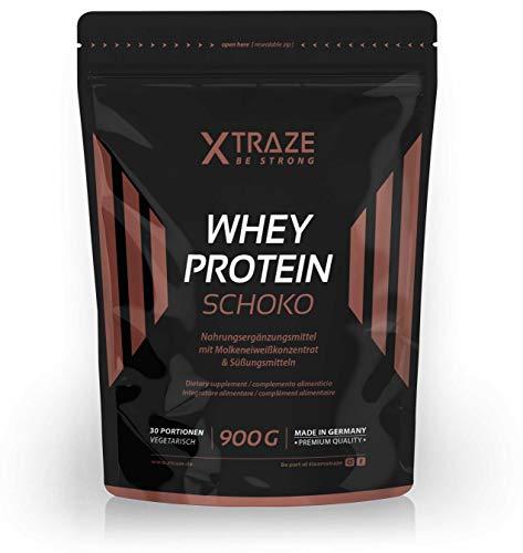 Whey Protein Pulver für Eiweiß-Shakes 900 g Molkenprotein-Konzentrat + Isolat mit BCAA - Qualität aus Deutschland - ohne Zusatzstoffe - für Kraftsport | Bodybuilding | Fitness (1 Beutel Schoko) -