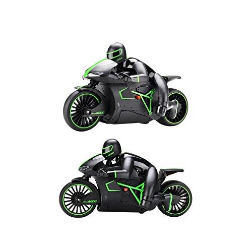 Hugine 4CH RC Motocicleta 2.4G Velocidad rápida 1:18 Moto de Control Remoto con Luces LED Recargable Coche eléctrico vehículo de Juguete (Verde)