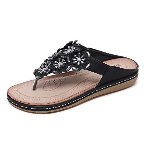 Pantofole Estate Donna Infradito Moda Sandali da Spiaggia con Fiore Perline Nero,EU37=CN38