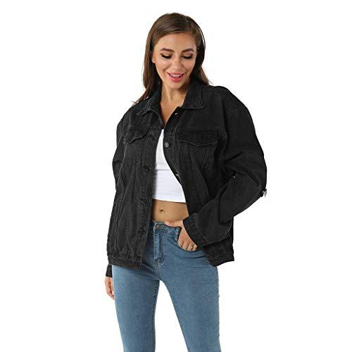 Coversolate Jeansjacke mit Knopf Cord Mantel Damen Schwarz Winterjacke Outwear