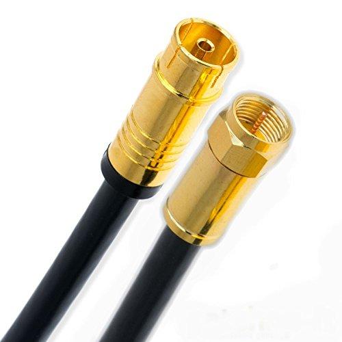 2m Koaxial Sat Antennen Kabel Schwarz 135dB F-Stecker auf Koax Buchse/Kupplung Vergoldet Digital Class A+ Antennenkabel 3D 4K Ultra HD (2m, Schwarz)