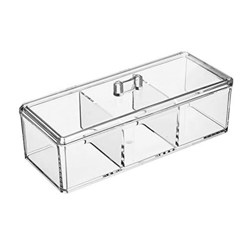 Klare Acryl-tabelle (TOPBATHY Acryl Aufbewahrungskoffer Schublade Mehrzweck 3 Grids Kosmetik Make-Up Schmuck Organizer Klar Make-up Halter Box für Tabelle Badezimmer Schlafzimmer Küche)
