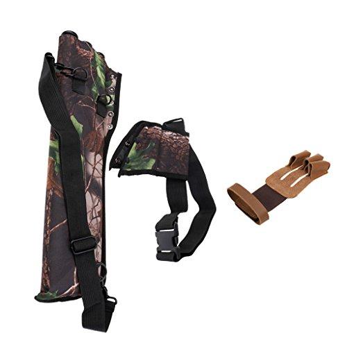 MagiDeal 3 Röhrenköcher, Segeltuch + Schießhandschuh, Bogenhandschuh Bogensport 3-Finger Handschuh Set (Rechten Arm Stück 3)