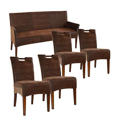 casamia Sitzbank und 4 Rattan-Stühle-Set Bilbao vollgepolstert, Polster Prairie Brown