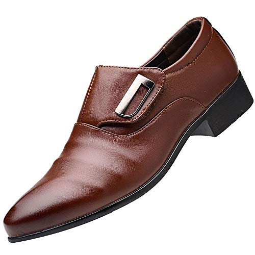 koperras Mens Soft Business Shoes, Fashion Men's Leather Shoes Casual Pointed Toe Slip On Male Suit Shoes(US 8,Brown) -