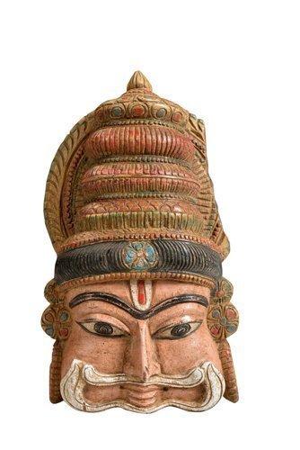 Peinte Masque En Bois Sculpture Inde Du Sud By Luxury Park