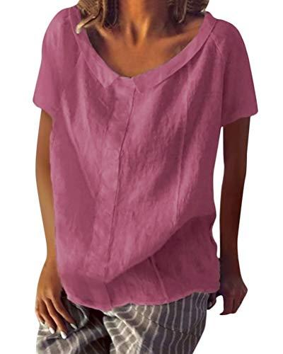 Shallood Minetom Damen Sommer Elegante Leinen Einfarbig Kurzarm T-Shirt 3/4 Arm Tunika Blusen V Ausschnitt Leicht Asymmetrisch Shirt mit Knopf A Rosa DE 40 - Leinen Bluse Shirt