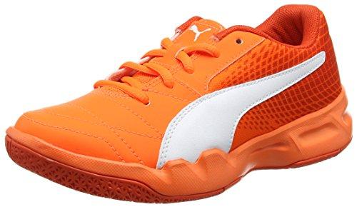 Puma Unisex-Kinder Veloz Indoor NG Jr Hallenschuhe, Orange (Shocking Orange-White-Cherry Tomato), 34 EU