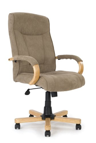 Eliza Tinsley - Silla de oficina (microfibra, base y brazos de imitación madera de roble, respaldo alto), color marrón