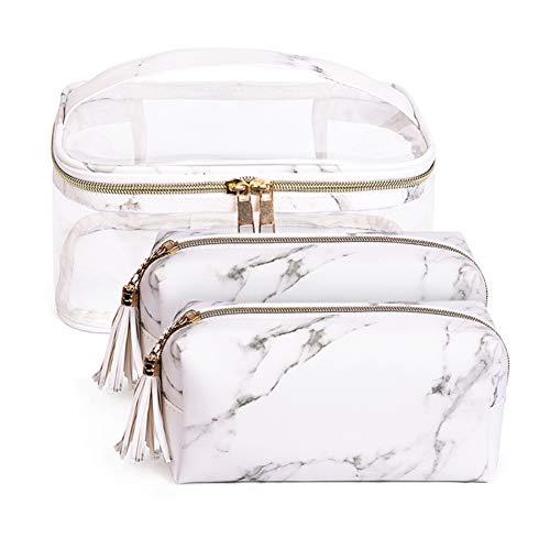 Wasserdicht PVC Kosmetiktasche Set von 3 Marmor Muster für Damen Schminktasche kulturbeutel Waschtasche makeup bag (Weiß Set)