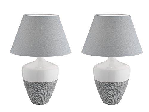 Honsel clásico designte lámpara de mesa Derby En Un Juego de 2unidades, cerámica, pantalla de tela gris, altura 47cm, 56178de SET2