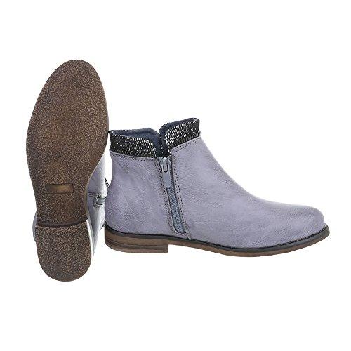 Ital-Design Scarpe da Donna Stivali Tacco a Blocco Chelsea Boots blu grigio