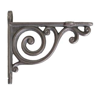 Pair of Small Cast Iron Shelf Brackets with Victorian Scroll Design (9cm x 10cm)