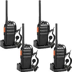 Retevis RT24 sans Licence Talkie Walkie Rechargeables PMR446 Professionnel Radio Bidirectionnelle Surveillance Scan 16 Canaux 50CTCSS 210DCS avec Chargeur Européen et Écouteurs (Noir,4 pcs)