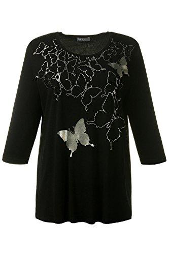Ulla Popken Damen große Größen | Shirt mit Schmetterlings-Motiv | Rundhalsausschnitt | 3/4-Ärmel | bis Größe 62+ | 712269 Tiefblau