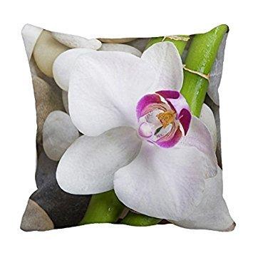 Cushion Case Pretty Orchidée, Bambou et galets Couvre-lit oreillers Motif bambou un côté Taie d'oreiller carré Taie d'oreiller