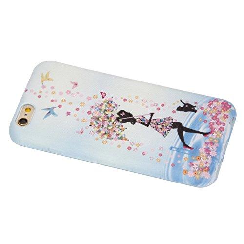 SainCat Coque Housse iPhone 6 Plus, Souple Coque Etui en Silicone, iPhone 6S Plus Silicone Transparent Case TPU Cover, Etui de Protection Cas en caoutchouc en Ultra Slim Souple Cristal Clair Gel TPU B fille Umbrella