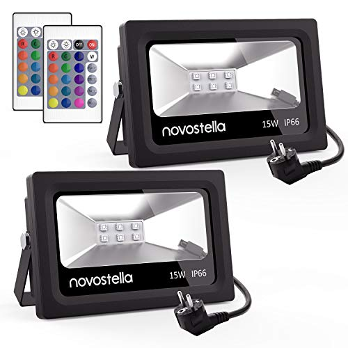 [2Packs] NOVOSTELLA Foco LED RGB Exterior 15W, 16 Colores Proyector LED, 4...
