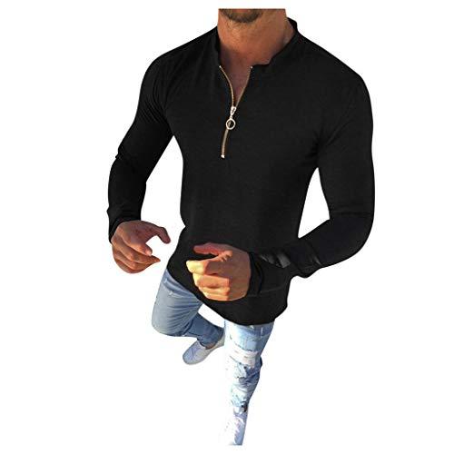 DNOQN Herren Langarm Solide Einfache Taste Strickjacke Reißverschluss Lässig Slim Fit Shirt Herren Freizeit Herbst Poloshirt T Shirt Lang Schwarz XXXL