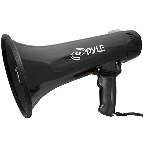 Megaphon Pyle PMP43IN schwarz-40Watt Max mit Funktion von Sirene Megafon bis 800Meter mit AUX Klinkenstecker 3,5mm und Mikrofon Separate A Draht und mit Tragegurt. Funktioniert mit Batterien