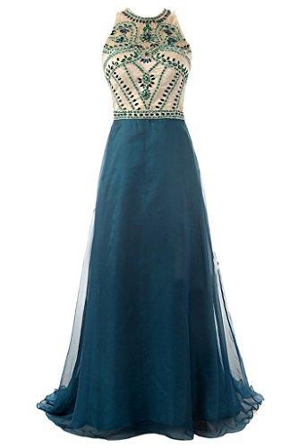 Sunvary una linea Jewel collo senza maniche Sera Sera degli ospiti per matrimonio vestiti Dark Blue
