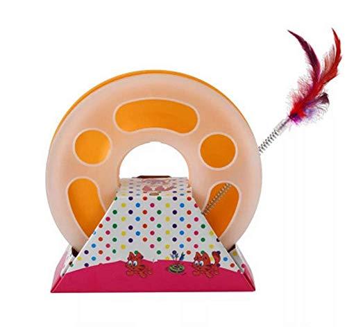 AXAY Intelligence-Game-Track,Runde einzelne Schicht,Lustiger Katzenspielstock, PP-Material - interaktives Spielzeug für Haustiere,Orange