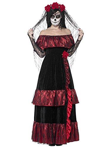 Tag der Toten Sugar Skull Braut Damenkostüm schwarz -