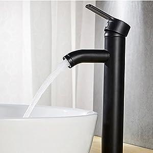 Lavabo de acero inoxidable negro mate esmerilado para grifo, lavabo superior, redondo, pintura para hornear, grifo de…
