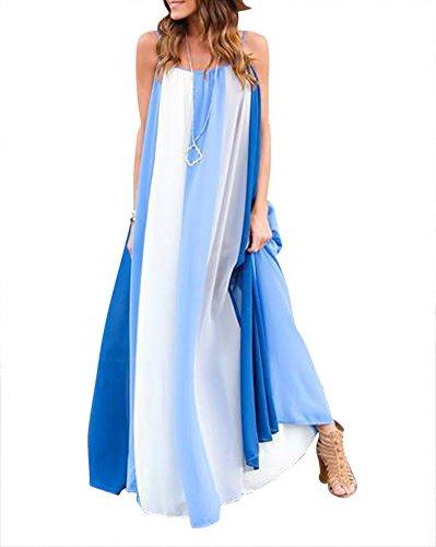 Damen Elegant Ärmellos Maxikleid Chiffon Lang Strandkleider Partykleider Blau