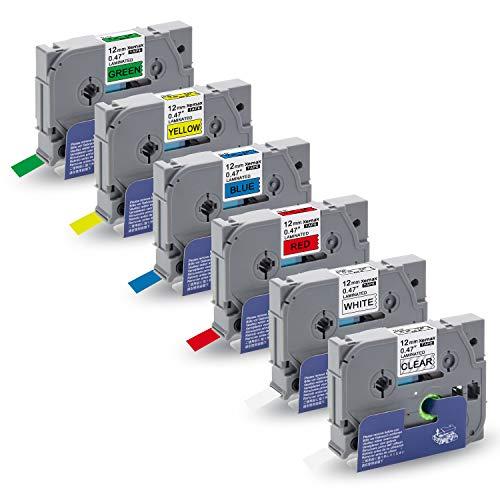 6x Xemax P-touch Tze 0.47' 12mm x 8m Tze-131 Tze-231 Tze-431 Tze-531 Tze-631 Tze-731 Etichette Cassetta, Compatibile per Brother P-touch PT-D210VP PT-H101C PT-1010 PT-P750W PT-H100P PT-D450 PT-D600VP