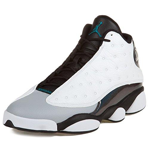 Nike Herren Air Jordan 13 Retro Turnschuhe, Weiß/Grün/Schwarz (Weiß/Teal-Blck-TRPCL WLF Gry), 45 1/2 EU (Jordan Turnschuhe Air Neue)