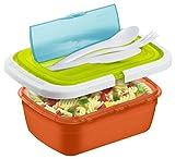 Rotho 1746299999 Snackbox Vesperdose Quick und Safe, wasserdicht mit Besteck, BPA und schadstofffrei, bunt, Plastik, 21 x 15 x 7,5 cm