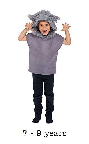 Kinder Wolf Kostüm - grau, Medium (7-9 Years)