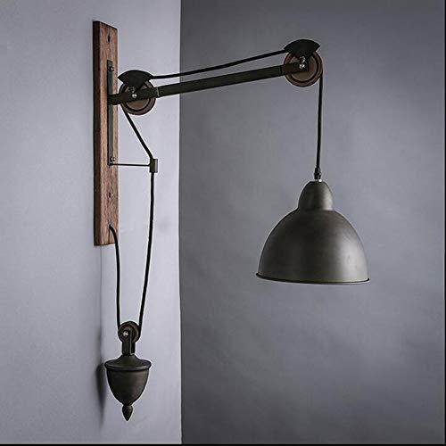 Vintage Lámpara de Pared Ajustable Estilo Rústico Loft Lámpara de Pared de Metal Diseño de Polea...