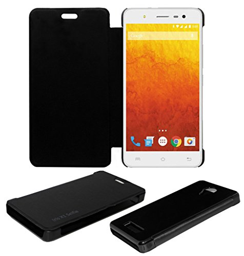 ACM LEATHER DIARY FOLIO FLIP FLAP CASE FOR LAVA IRIS X1 SELFIE MOBILE FRONT & BACK COVER BLACK  available at amazon for Rs.179