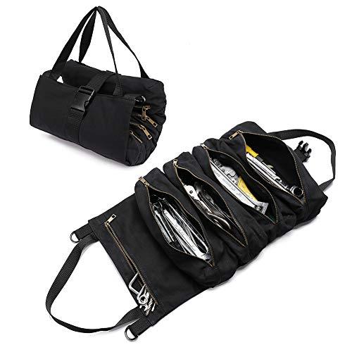 QCWN Sac à outils en toile avec 5 poches zippées pour les professionnels, noir
