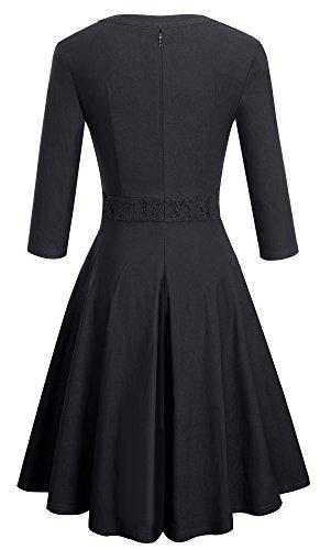 HOMEYEE delle donne eleganti 3/4 maniche di pizzo montaggio swing abito da sera A056 Nero