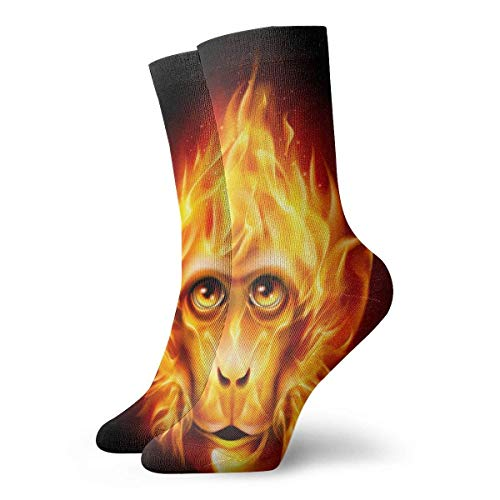 Novelty Funny Crazy Crew Sock Red Head Fire Monkey Printed Sport Athletic Socks 30cm Long Personalized Gift Socks Men Women