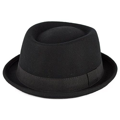 Men's Ladies Fine Felt Wool Pork Pie Hat Plain - Black (Man Hats)