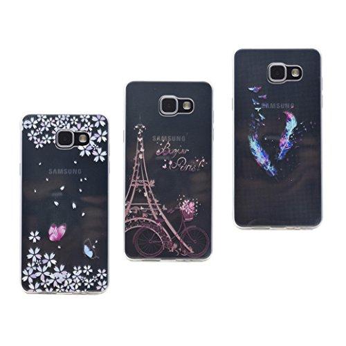 AllDo Custodia per Samsung Galaxy A5 2016 SM-A510F,Cover Gel di TPU Flessibile Liscio Smooth Soft Case Cover in Silicone Combinazione Unica - Farfalle & Bicicletta & Piume