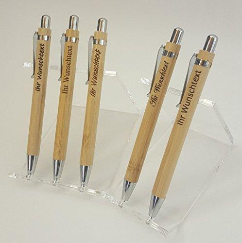 Gravierter Holz-Kugelschreiber personalisierter Holzkugelschreiber mit Gravur Name oder Wunschtext individuell als Geschenk Geburtstag (Kugelschreiber Geschenk Personalisierte)