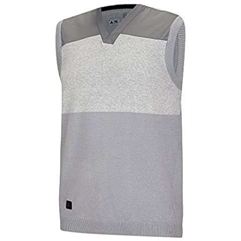 Adidas 2015 Sport Classic V-Neck Sweater Vest Tank Top Mens Slipover Mid Grey Small