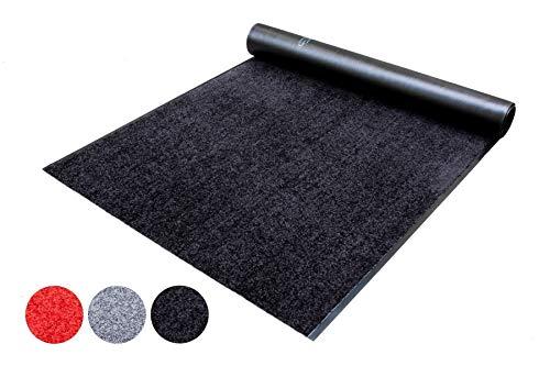 Schmutzfang-Läufer Teppich Meterware Schmutzfang-Matte WASH and CLEAN - Schwarz 0,90m x 4,50m, Waschbarer, Rutschfester, Wasserabsorbierender Küchenläufer, Sauberlauf, Fußmatte für Innen und Außen
