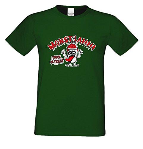 Extrem stylisches gruseliges Halloween-Herren-Fun-T-Shirt als Geschenke-Idee Motiv: Monstaahhh Farbe: dunkelgrün Dunkelgrün