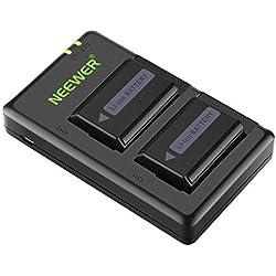 Neewer NP-FW50 Chargeur de Batterie d'Appareil Photo pour Sony A6000 A6300 A6500 A7 A7II A7II A7SII A7R A7RII A55 A5100 RX10(2x1100mAh, Chargeur Micro-USB, Option de Charge Polyvalent)
