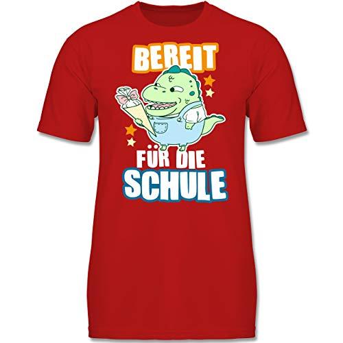 Einschulung und Schulanfang - Bereit für die Schule Dinosaurier mit Schultüte - 128 (7-8 Jahre) - Rot - F130K - Jungen Kinder T-Shirt - Hey Hey Roten T-shirt